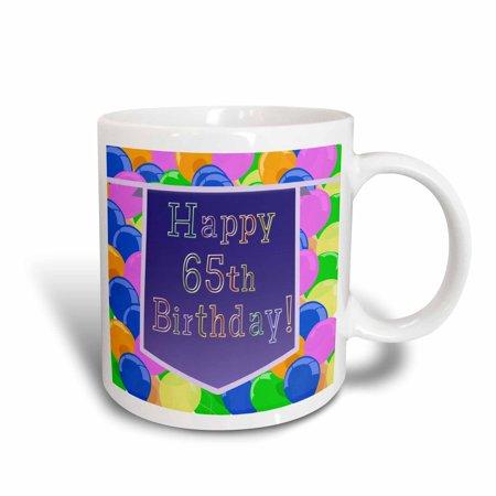 3dRose Balloons with Purple Banner Happy 65th Birthday, Ceramic Mug, 11-ounce - Purple Birthday Banner
