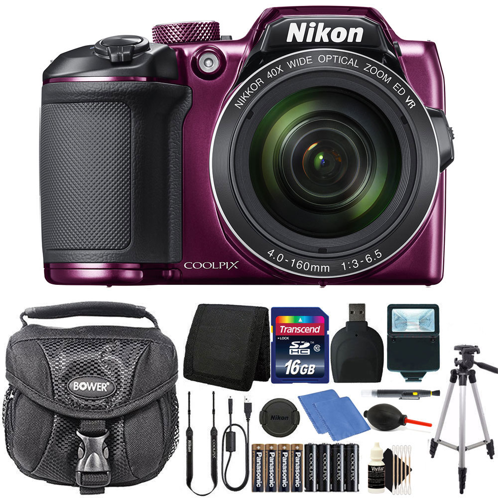 Nikon Coolpix B500 16MP Digital Camera with Extra Batteries + Accessories -Plum