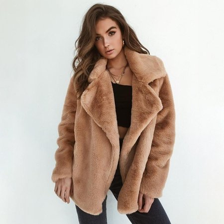 Women Coat Lapel Collar Cotton Padded Faux Fur Coat Collar Cotton Women Poncho