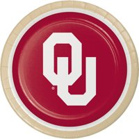 University of Oklahoma Round Paper Plates 8 Count for 8 Guests