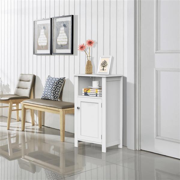 Yaheetech Bathroom Kitchen Floor Storage Cabinet with Single Door and Adjustable Shelf