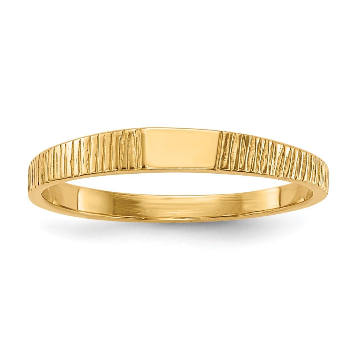14K Yellow Gold Polished & Ridged Baby Ring - image 5 of 5