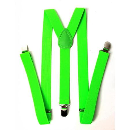 Kids Unisex Clip-On Elastic Suspenders - Lime Green - Green Suspenders