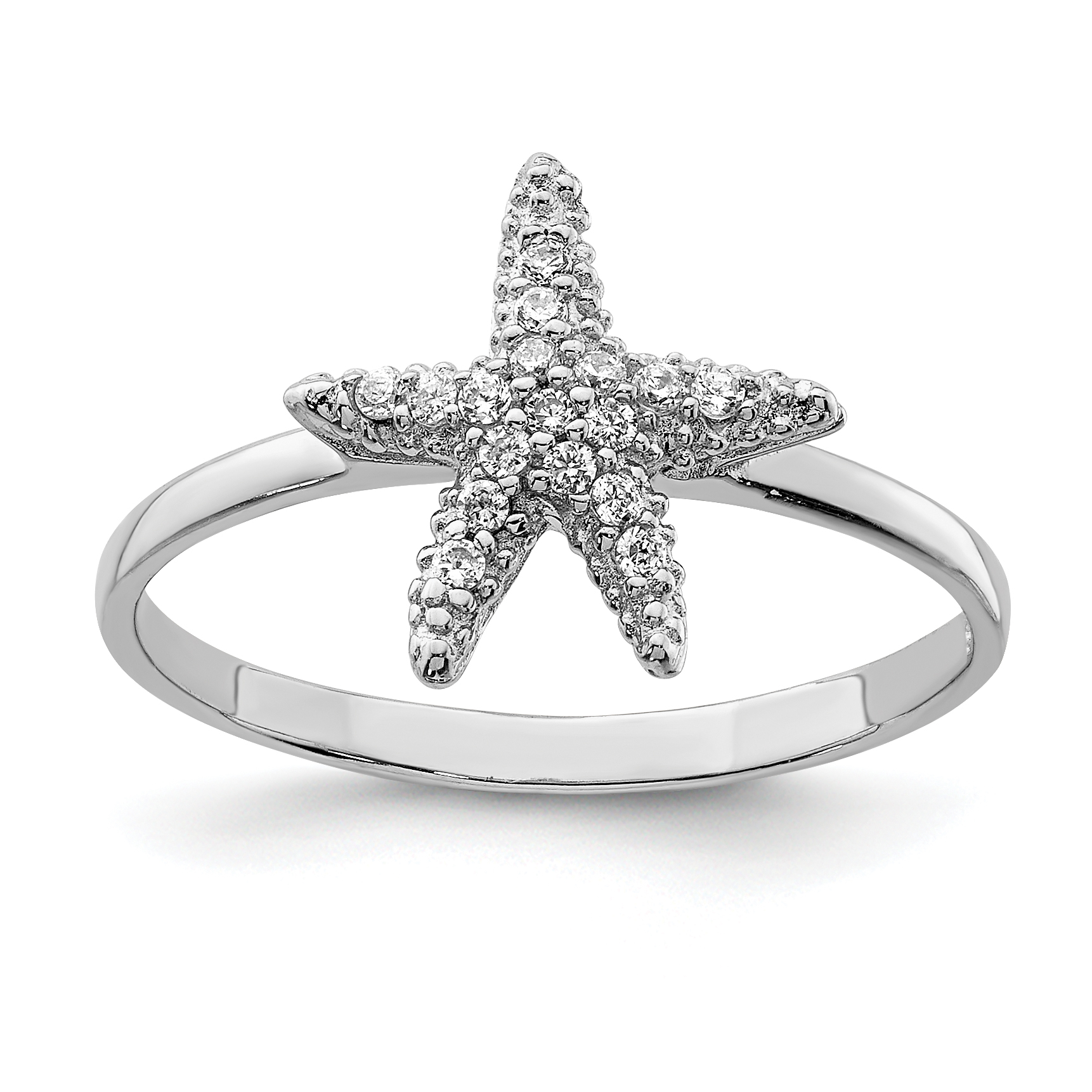 925 Sterling Silver Cubic Zirconia Cz Starfish Band Ring Size 7.00 Sea Shell Life Fine Jewelry Gifts For Women For Her - image 3 de 3