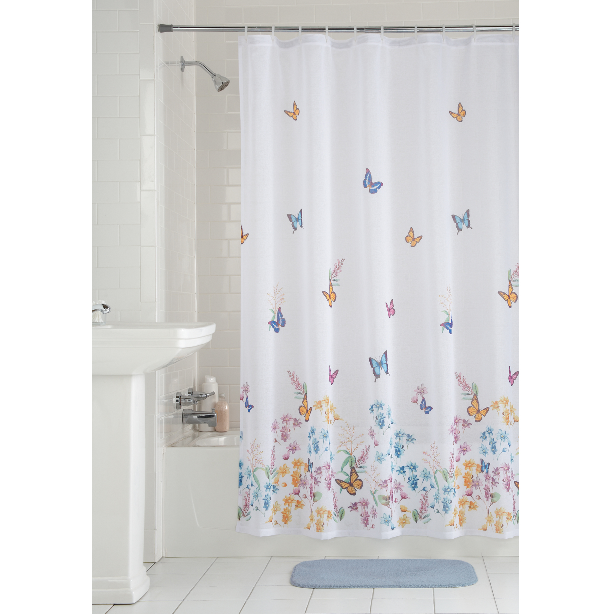 cloth shower curtains mainstays butterfly fabric shower curtain walmart 29216