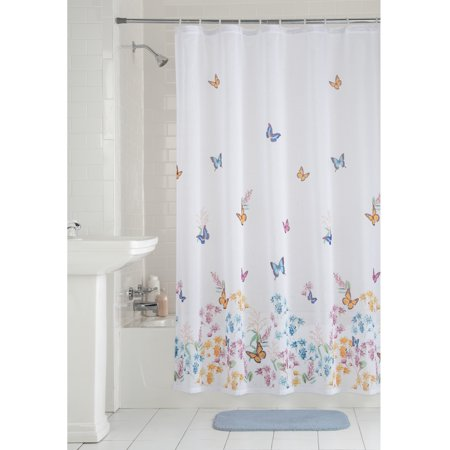 Mainstays Butterfly Fabric Shower Curtain 1 Each