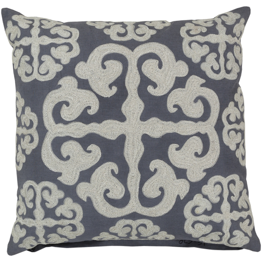 """18"""" Stone Blue and Buttermilk White Hand-Made Decorative Throw Pillow-Down Filler"""