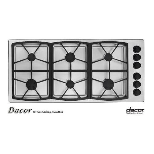 "Dacor  SGM466SLP Classic Series 46"" Gas Cooktop Liquid Propane with 6 Sealed Burners  Three 13"" Platform"