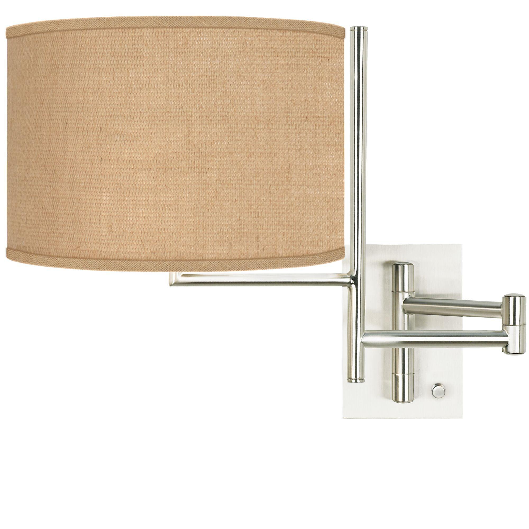 Possini Euro Design Modern Swing Arm Wall Lamp Brushed Nickel Plug In Light Fixture Woven Burlap Fabric Drum Shade Bedroom Bedside Walmart Com Walmart Com