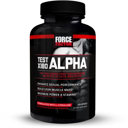 Force Factor Test X180 Alpha Nitric Oxide Testosterone Booster with Fenugreek, L Citrulline, Maca Root, DIM, 120 Ct.