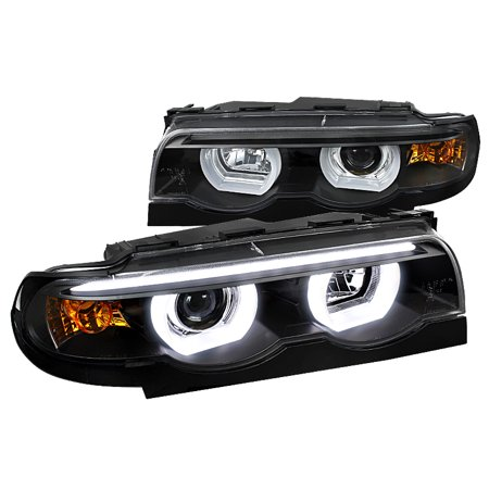 Spec-D Tuning For 1995-2001 Bmw E38 7-Series Euro Black Projector Headlights Dual Halo Led 1995 1996 1997 1998 1999 2000 2001