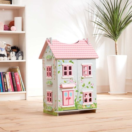 Teamson Kids Sweet Pea Cottage Dollhouse + 7 Pieces of Furniture