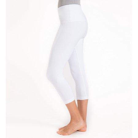 Lysse Women's White Spandex Capri Legging Shaping Fitness Yoga Pants (Small) NEW