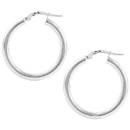 2mm Large Hoop Earrings - Sterling Silver 2mm x 25mm Plain Hoop Earrings