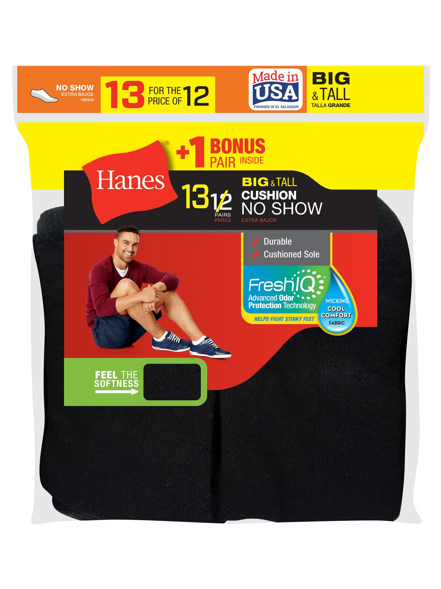 Hanes Men's Big & Tall Cushion FreshIQ No Show Socks, 12 + 1 Bonus Pack
