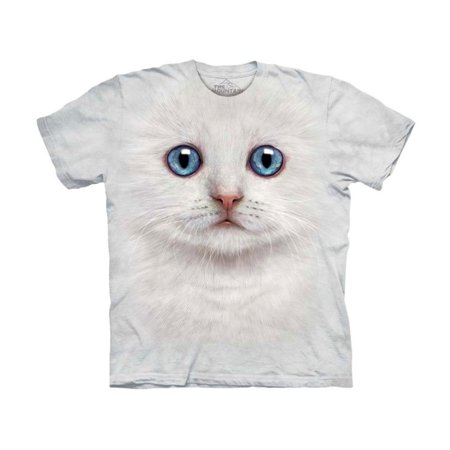 The Mountain Kids 100% Cotton Ivory Kitten Face Graphic Novelty T-Shirt NEW