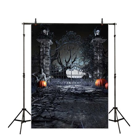 GreenDecor Polyster 5x7ft Halloween Backdrop Grungy Iron Front Gate of Haunted Mansion Background for Photography or Decoration