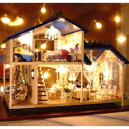 New Dollhouse Miniature DIY Kit Dolls House With Furniture DIY Handcraft Miniature Voice-activated LED LightMusic with Cover Provence Dollhouse