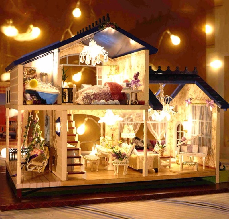 New Dollhouse Miniature DIY Kit Dolls House With Furniture DIY Handcraft Miniature Voice-activated LED Light&lamp;Music with Cover Provence Dollhouse