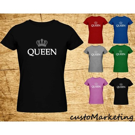 Lady Queen Women T-shirt Crown Print Lady Tee Outfit Best Birthday Gift Color Black