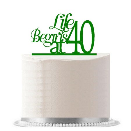Life Begins at 40 Green Birthday Party Elegant Cake Decoration Topper](40 Birthday Decorations)