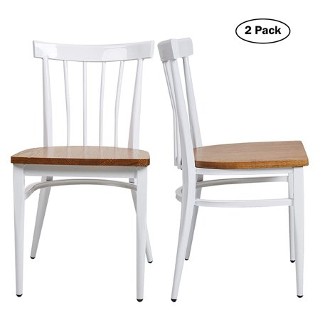 KARMAS PRODUCT Modern White Armless Dining Chairs Set of 2 --Heavy Duty  Wood Seat and Iron Frame Kitchen Side Chairs for Restaurant Cafe ...