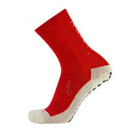 Unisex Men Women Non-Slipping Soccer Socks Cotton Anti Slip Football Socks Skidproof Sports Socks with Anti Skid Marine Elastic Rubber Outside
