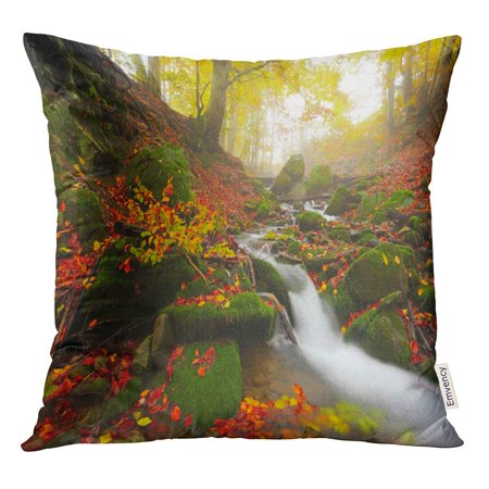 STOAG Picturesque Gold Autumn Fast Stream Flowing Between Green Stones Throw Pillowcase Cushion Case Cover 16x16 inch ()