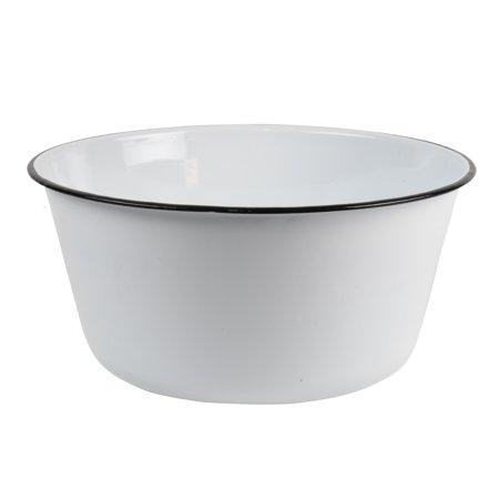 White Enamel Vintage Style Mixing Bowl Rustic Wash Basin Farmhouse Kitchen Accessory (Enameled Bells)