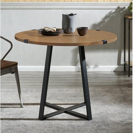 Manor Park Rustic Round Dining Table - English Oak / Black ()