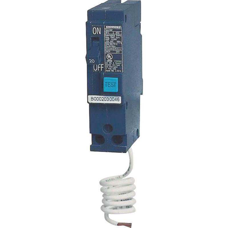 Mes Arc Fault Miniature Circuit Breaker, 120 Vac, 20 A, 1 P, 10 Ka Q120AF by Siemens Energy