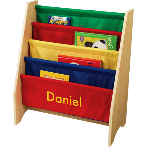 KidKraft - Personalized Primary Colors Sling Bookshelf, Yellow Block Font Boy's Name