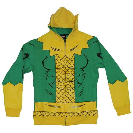 Thor (Marvel Comics) Loki Mens Hoodie Sweatshirt - Simple Loki Costume W/ Horns (Simple Costume)