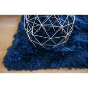 5x7 Feet Navy Blue Color Two Tone Color Solid Shag Shaggy Fluffy Fuzzy Furry Modern Contemporary Decorative Designer Area Rug Carpet Rug Plush Pile New
