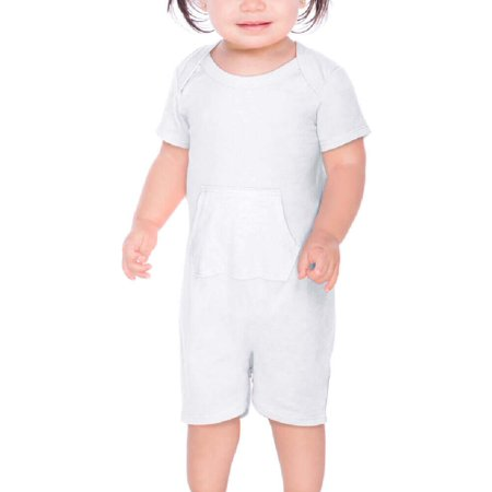 Kavio! Infants Sheer Jersey Lap Shoulder Short Sleeve Romper W. Pocket White 6M