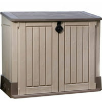 Keter Store-It-Out Midi 30-Cu Ft Resin Storage Shed, All-Weather Plastic Outdoor Storage, Beige/Taupe