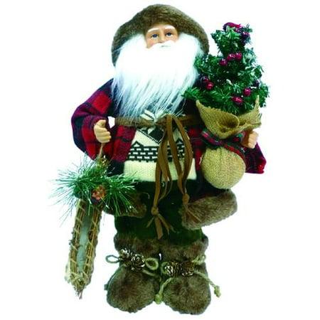 "16"" Rustic Woodsman Santa Claus Decorative Christmas Figure with Canoe"