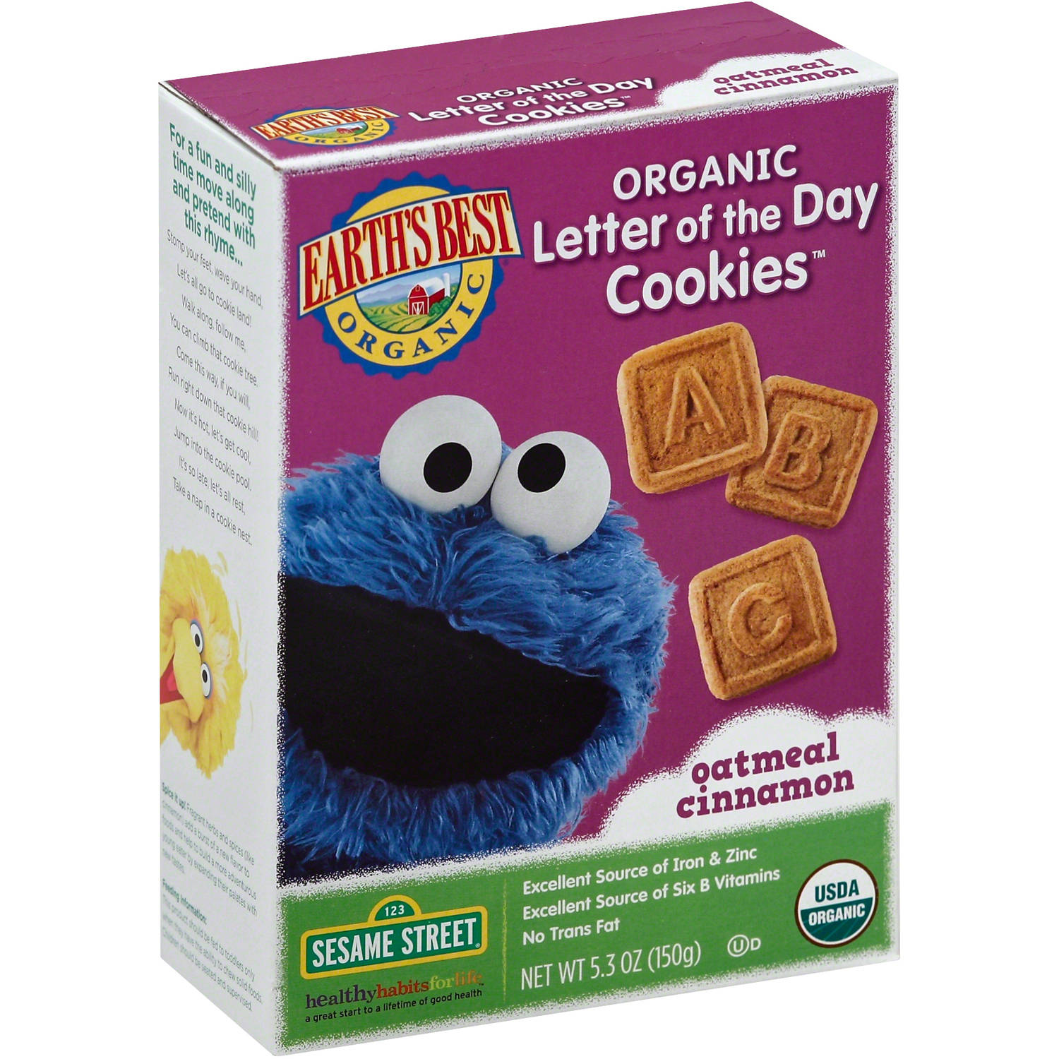 Earth's Best Organic Letter of the Day Oatmeal Cinnamon Cookies, 5.3 oz