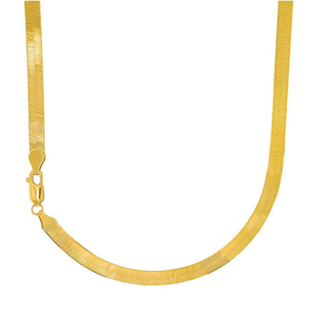 """14k Solid Yellow Gold 4mm Flexible Imperial Herringbone Necklace 16"""""""