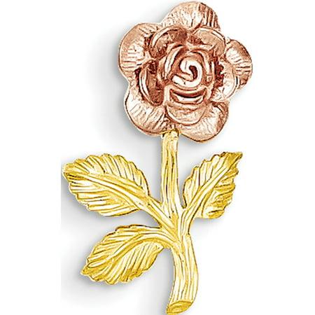 Leslies Fine Jewelry Designer 14k Two-tone Mini Pink Rose Flower 17x10mm Pendant / Chain Slide (32 Mini Pendant)