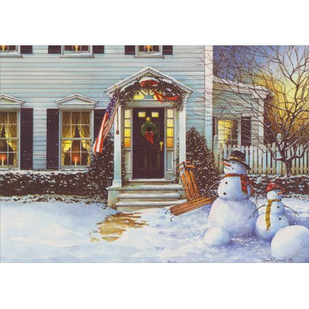 LPG Greetings Snowmen American Homestead Patriotic Christmas Card