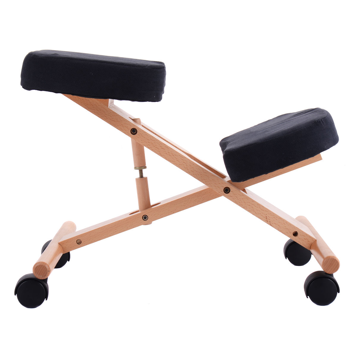 costway ergonomic kneeling chair wooden adjustable mobile padded seat and knee rest image 5 of 7