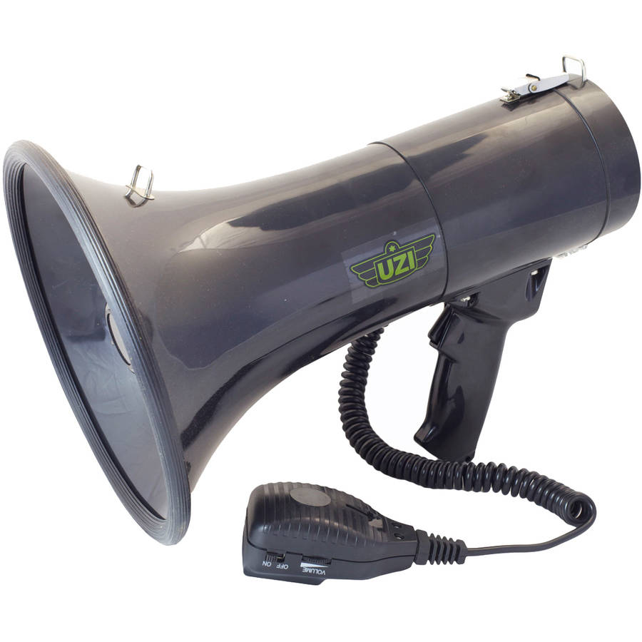 Megaphone with Detachable Microphone, Siren, Adjustable Volume and Recording Playback, UZI, 50-Watt, Black