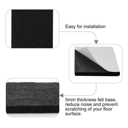 "Felt Pad Square 3/4"" Self Sticky for Floor Protector Desk Leg Black, 150pcs - image 3 de 7"