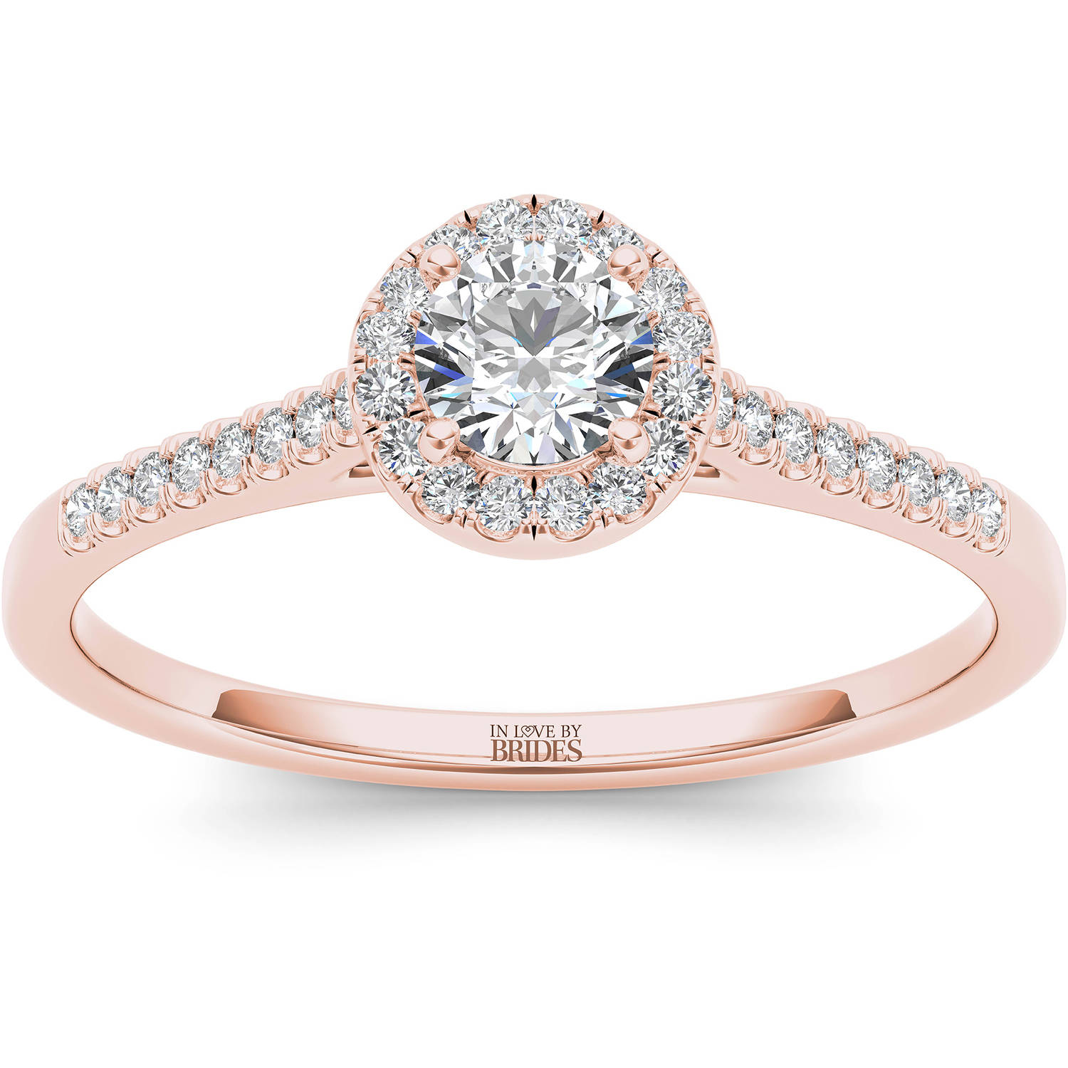 IN LOVE BY BRIDES 3/8 Carat T.W. Certified Diamond Halo 14kt Pink Gold Engagement Ring