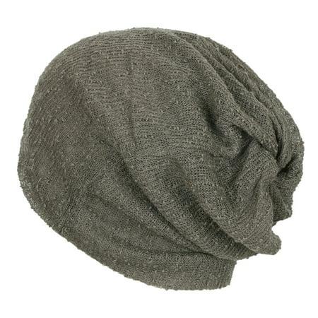 ililily Crochet Multi-purpose Summer Skull Beanie Reversible Neck Snood, Dark Grey