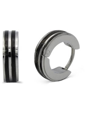 Huggie Hoop Earrings Stainless Steel Fashion Jewelry Fancy Silver Black Narrow Stripe Design Hoop Earring Men Women
