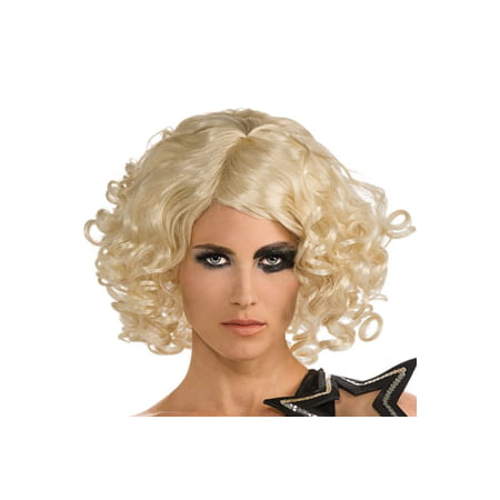Lady Gaga Curly Hair Blonde Wig Celebrity Officially Licensed Costume Rubie's - Halloween Celeb