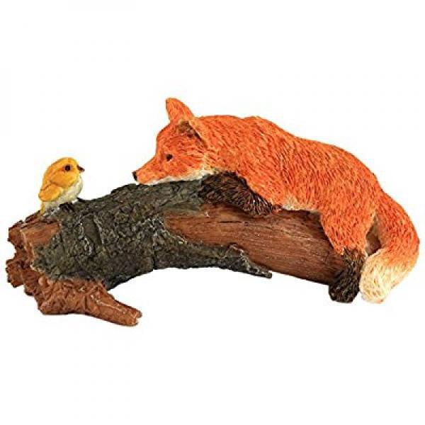 Top Collection Miniature Fairy Garden and Terrarium Playful Red Fox with Bird