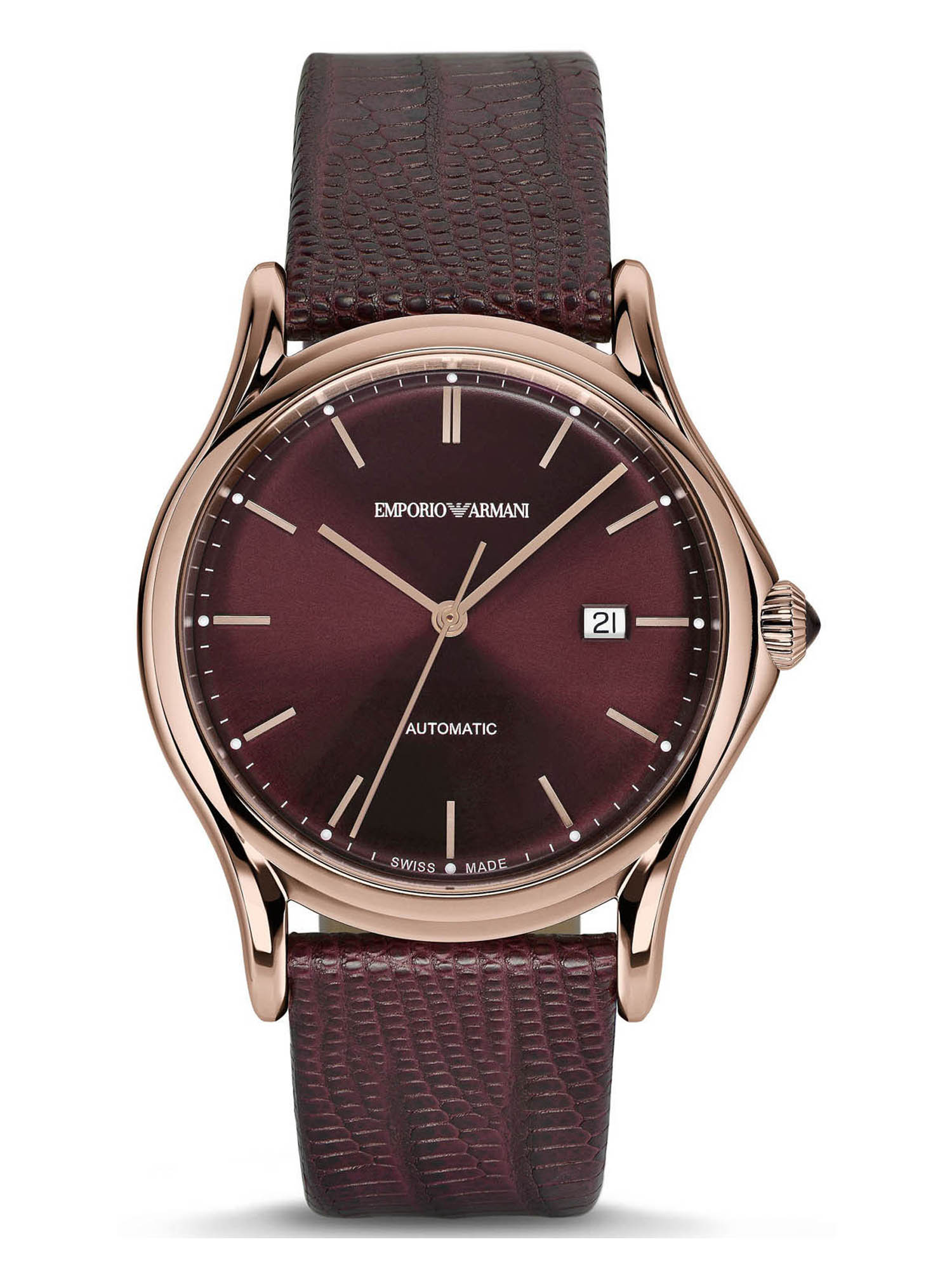 Emporio Armani ARS3018 Burgundy Dial Leather Strap Automatic Women's Watch
